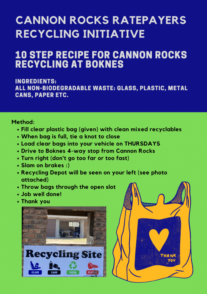 Cannon Rocks Recycling initiative Poster
